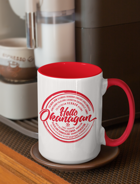 Hello Okanagan Towns Red 15oz Coffee Mug