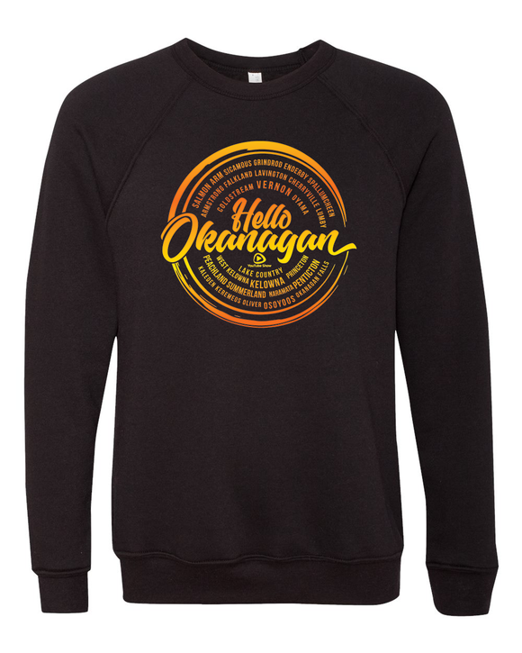 Hello Okanagan Towns Unisex Sunset Sponge Fleece Raglan Sweatshirt