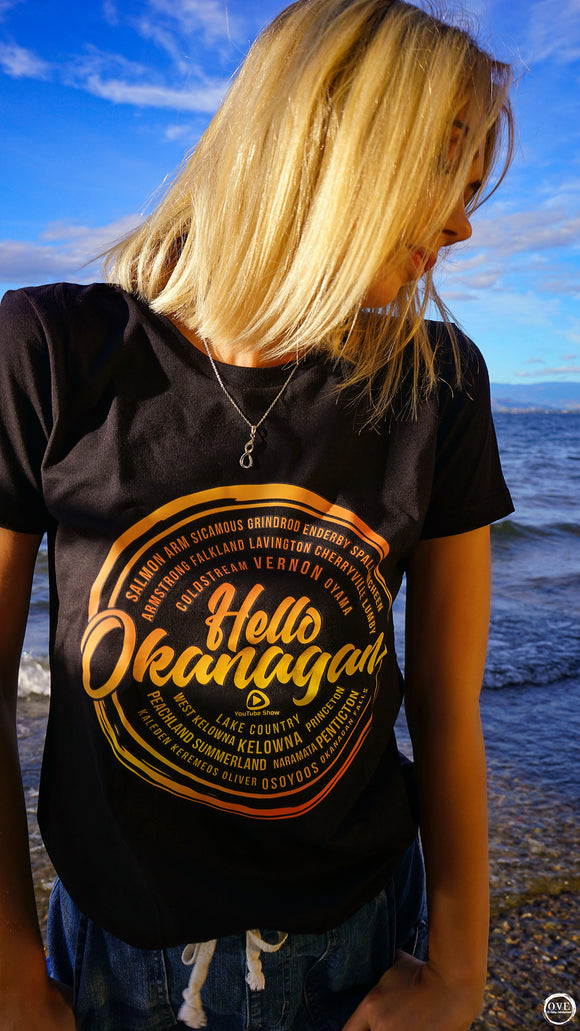 Hello Okanagan Towns Sunset Fitted Black Ladies T-shirt