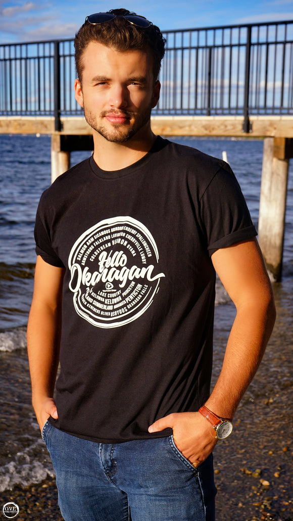Hello Okanagan Towns White Logo Fitted Black Mens T-shirt