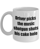 Driver picks the music coffee mug