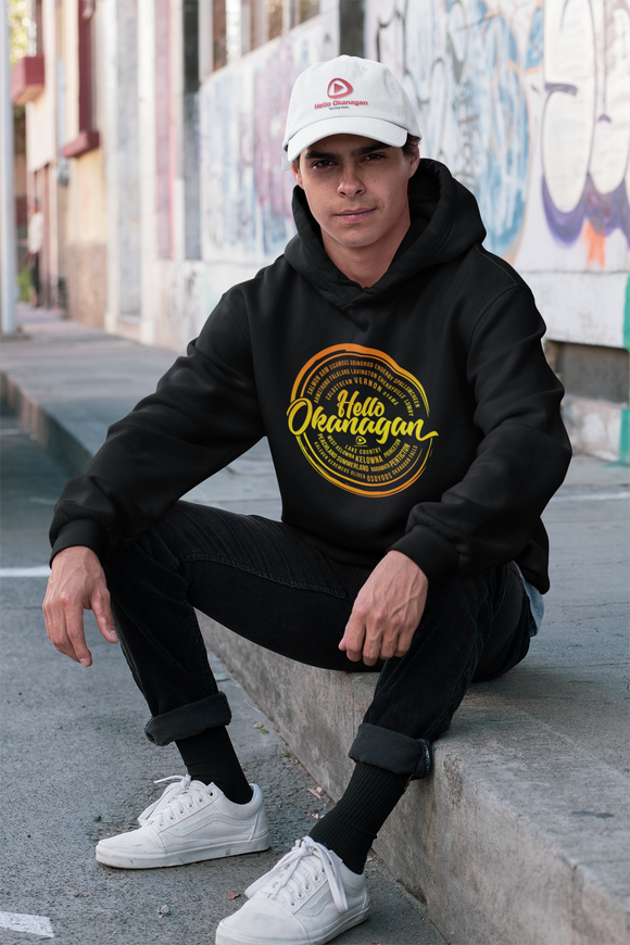 Hello Okanagan Sunset Logo Black Hoodie