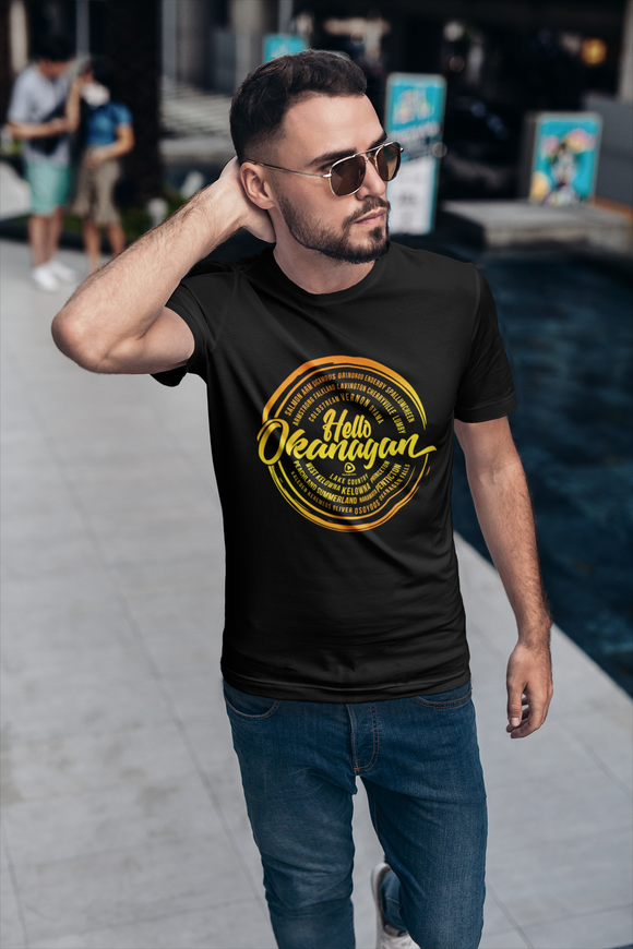 Hello Okanagan Towns Sunset Fitted Black Mens T-shirt