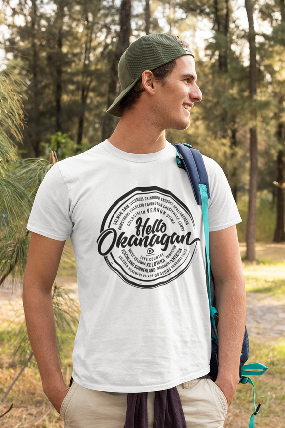 Hello Okanagan Towns Black Logo Fitted White Mens T-shirt