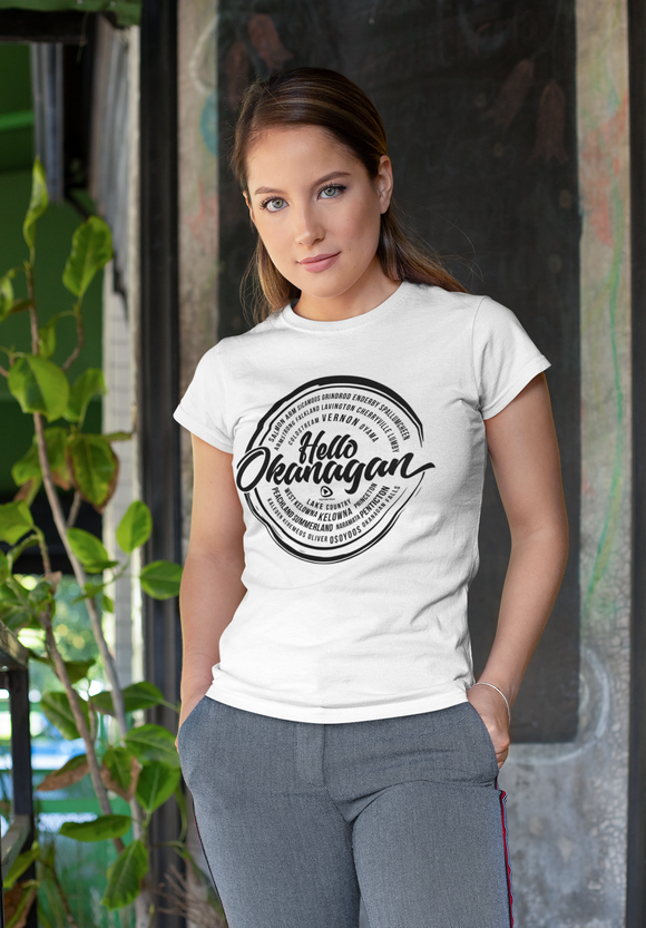 Hello Okanagan Towns Black Logo Fitted White Ladies T-shirt