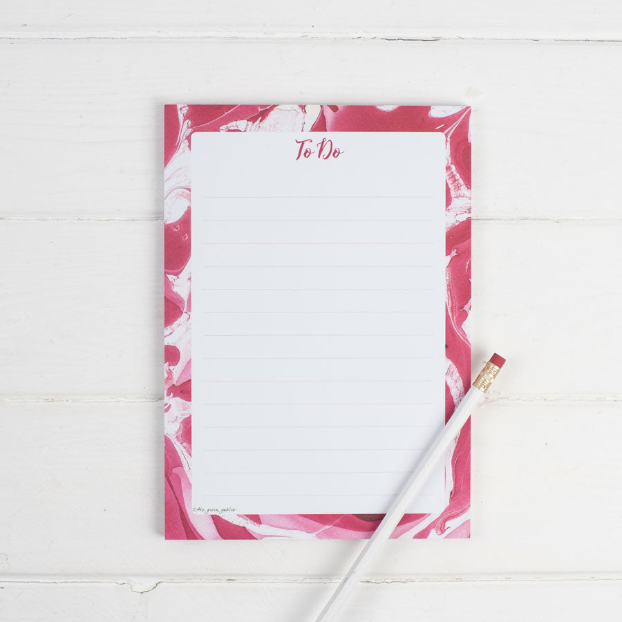 Marble Red 'To Do' Notepad (with magnet option) - the green gables store