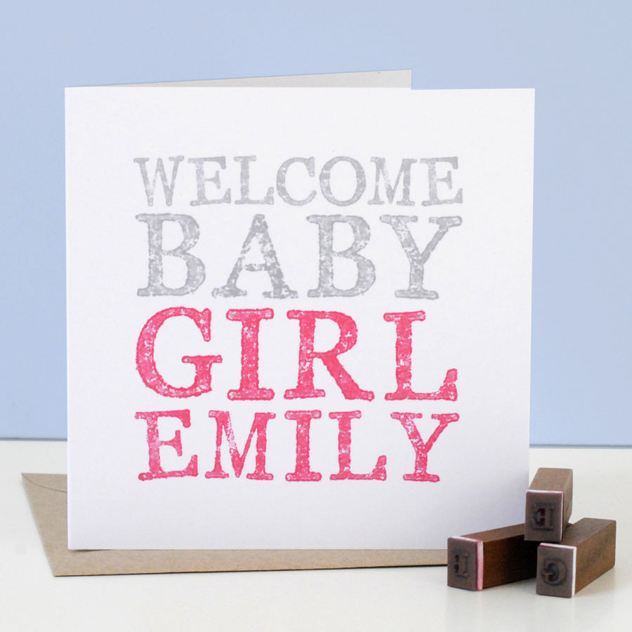 Personalised New Baby Girl Card - the green gables store
