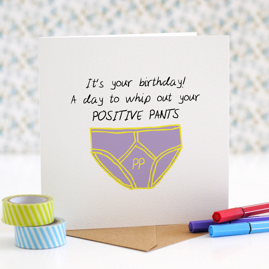 Positive Y-front Pants Birthday Card - the green gables store