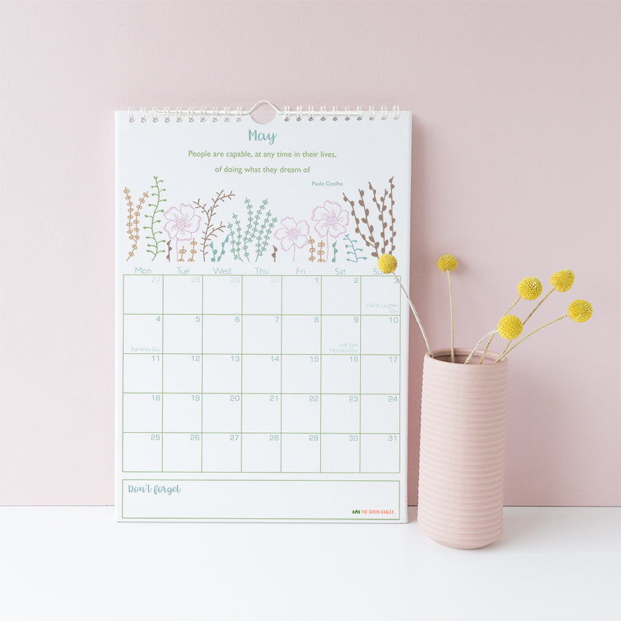 2020 Calendar Botanical A4 - the green gables store