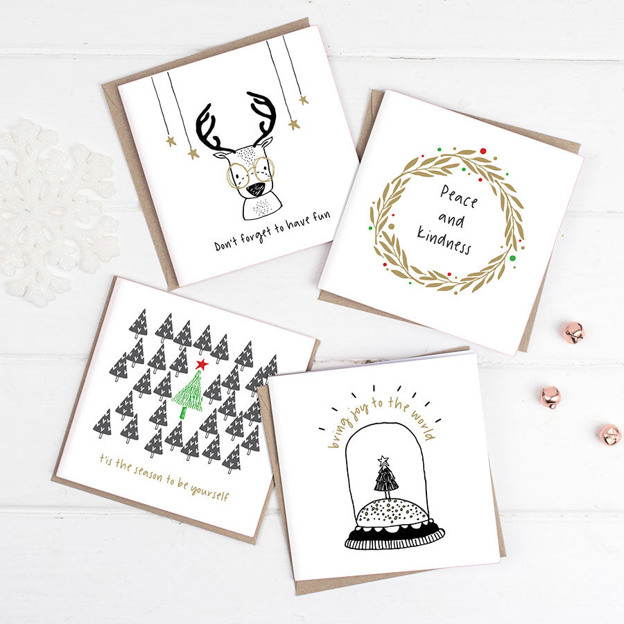 Happy Scandi Christmas Cards Pack Of Eight - the green gables store