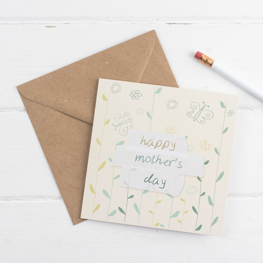 Happy Mother's Day Card - flowers and butterflies - the green gables store