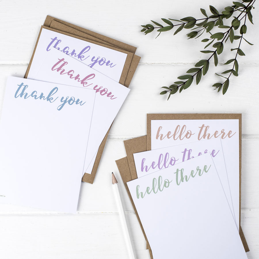 Hello and Thank You Postcards Set - the green gables store