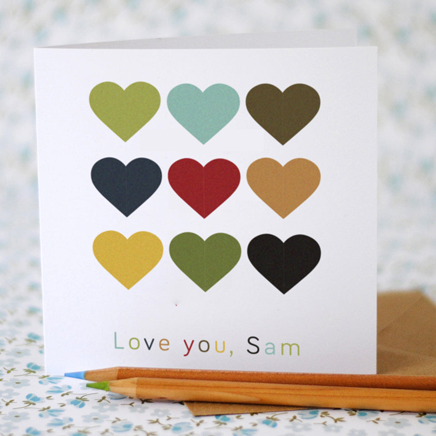 Love you hearts card - (option to personalise) - the green gables store