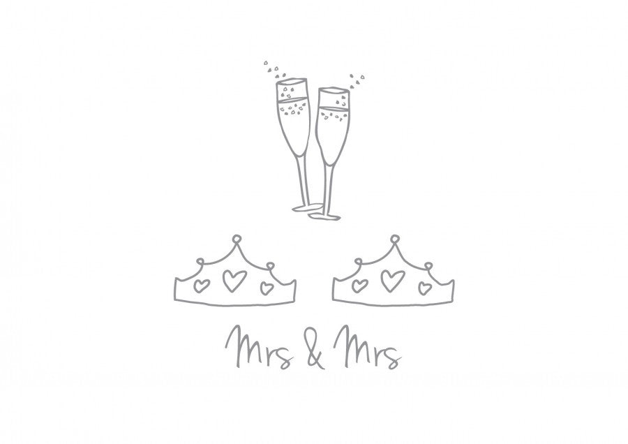 Mrs and Mrs Wedding Card - the green gables store