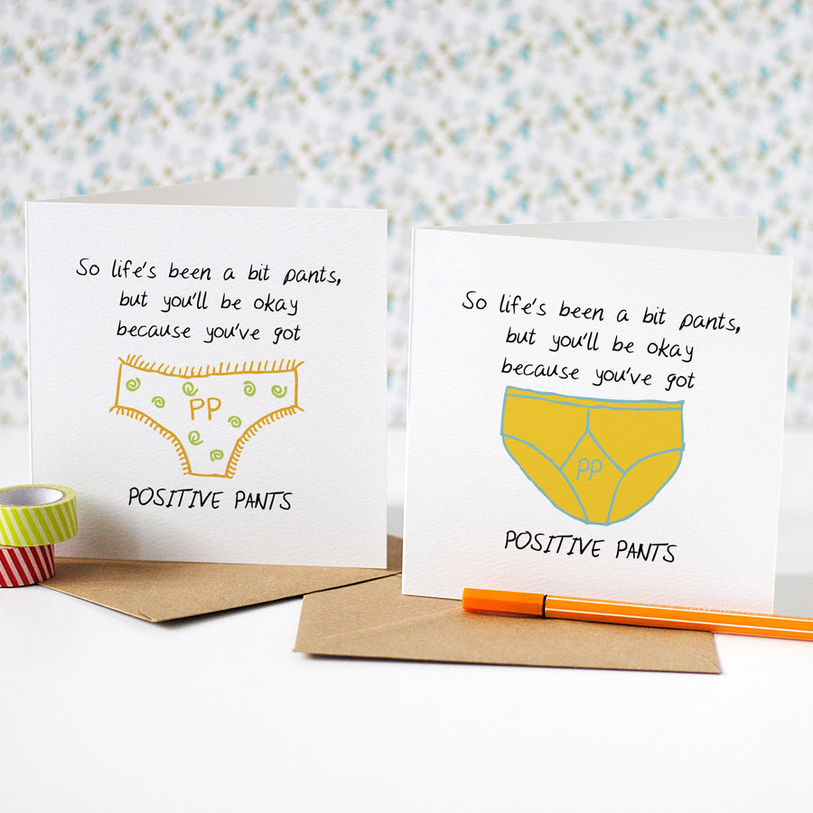Positive Pants Thinking Of You Card - the green gables store