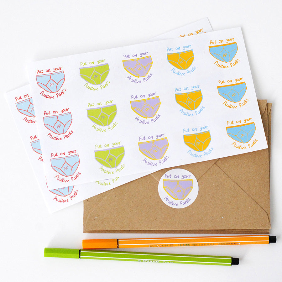 Positive Pants Sticker Sheets - the green gables store