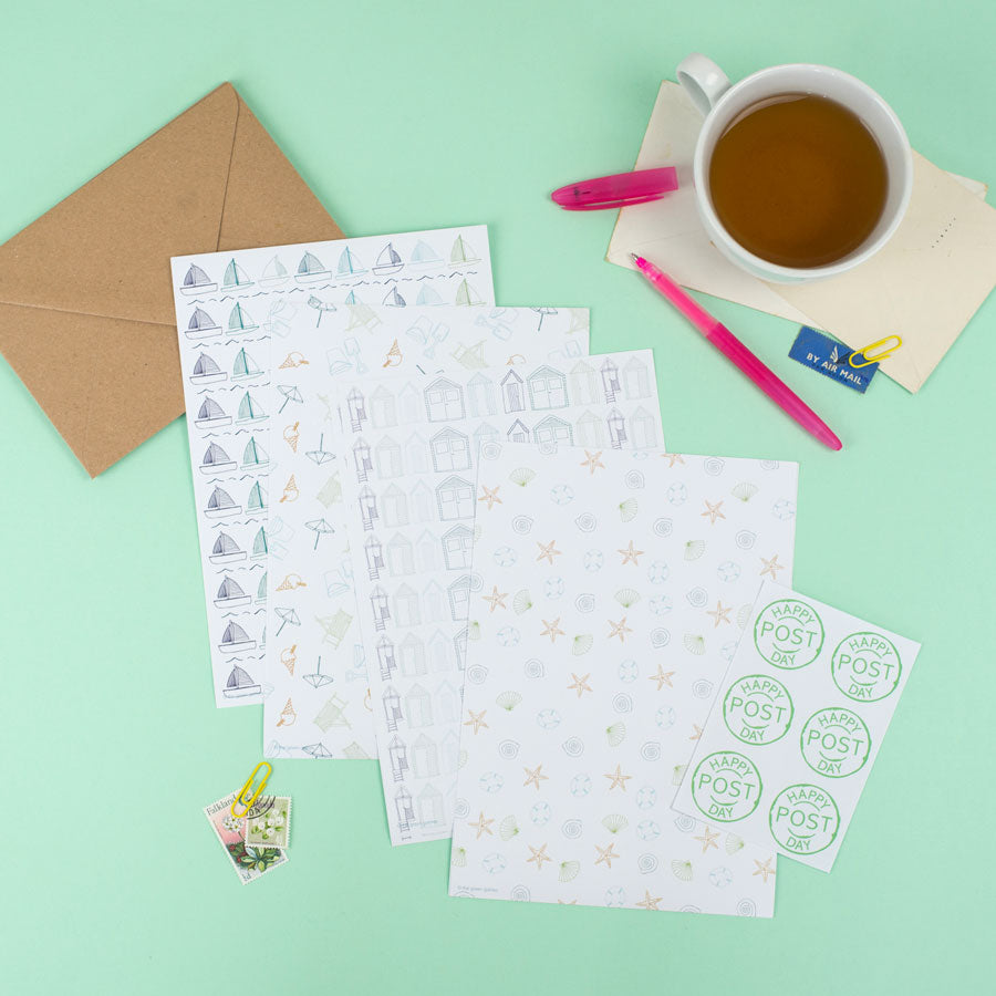 Seaside Letter Writing Set (option to personalise) - the green gables store