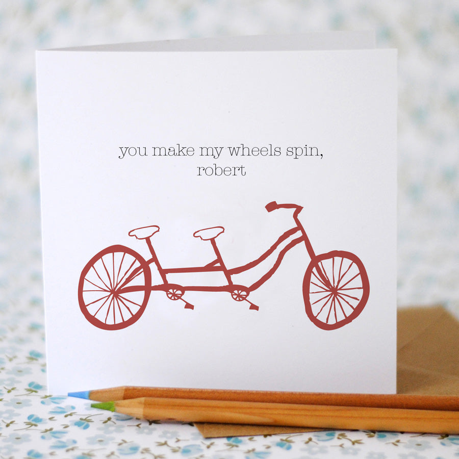 You make my wheels spin Card (option to personalise) - the green gables store
