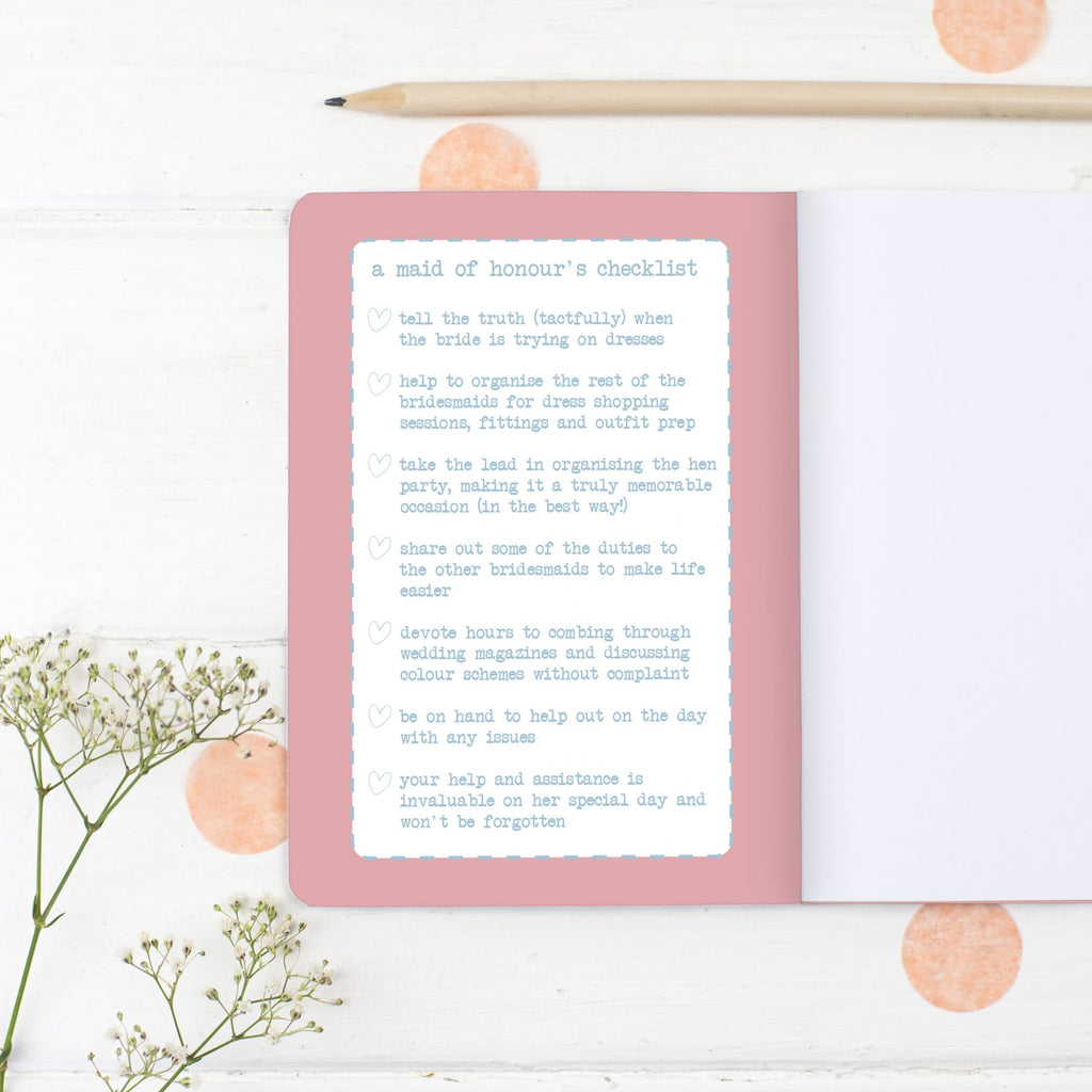 Maid of Honour Notebook Gift - the green gables store