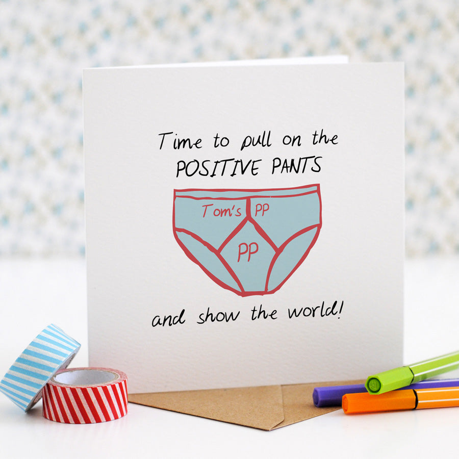 Positive Pants Good Luck Card (option to personalise) - the green gables store