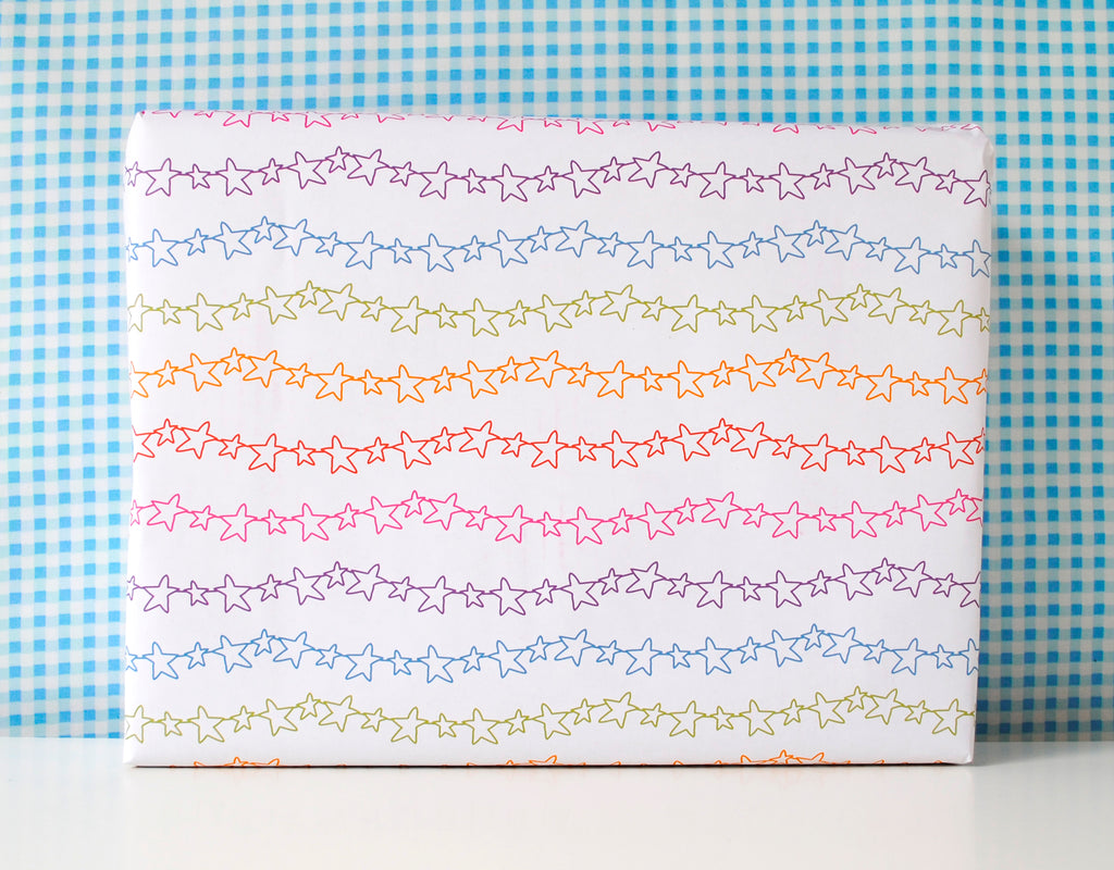 Rainbow Stars Wrapping Paper - the green gables store