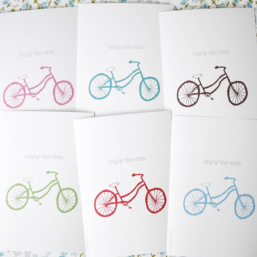 Set Of Six Bicycle Postcards - the green gables store