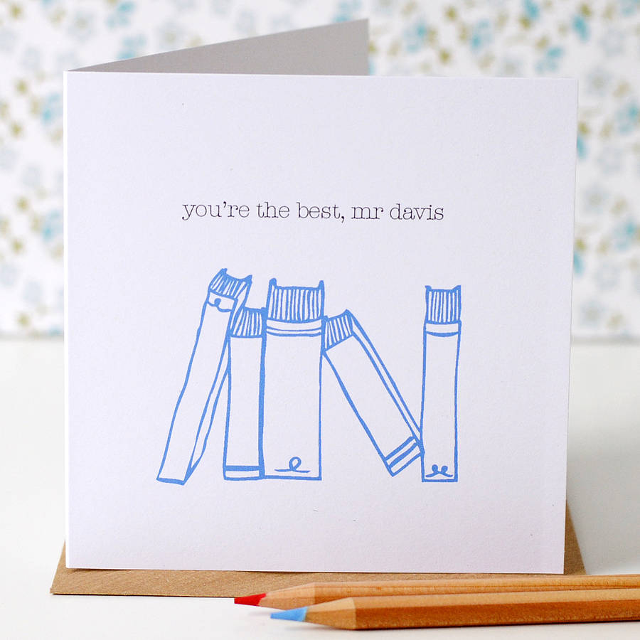 Personalised Books Thank You Teacher Card - the green gables store