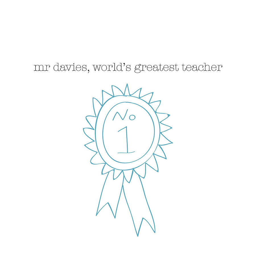 Personalised Rosette Thank You Teacher Card - the green gables store
