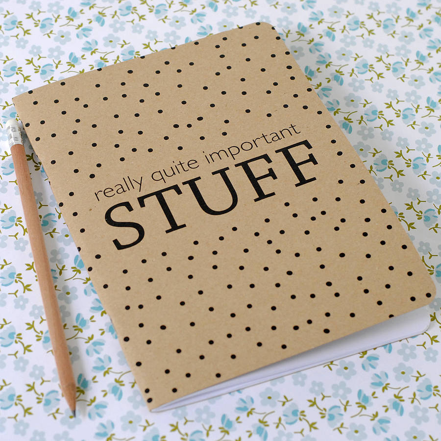 A5 Really Quite Important Stuff Notebook - the green gables store