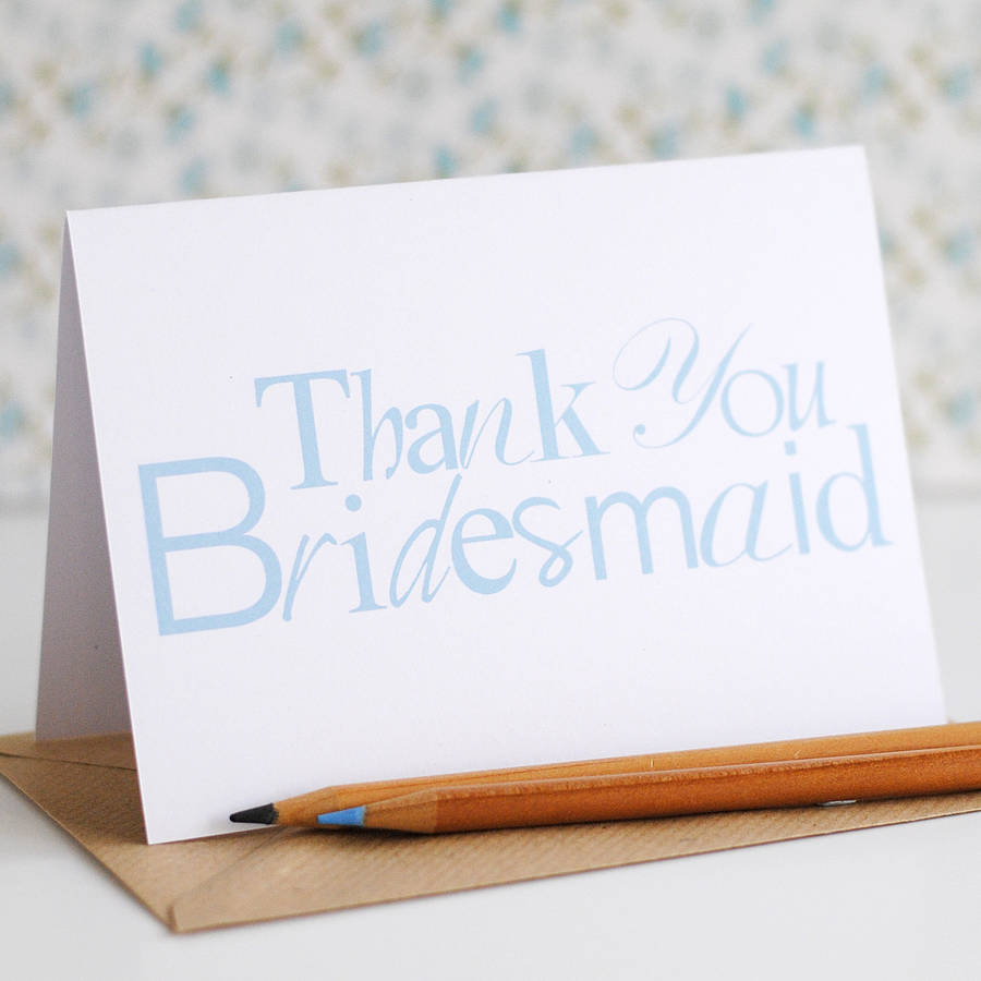 Thank You Bridesmaid Card - the green gables store