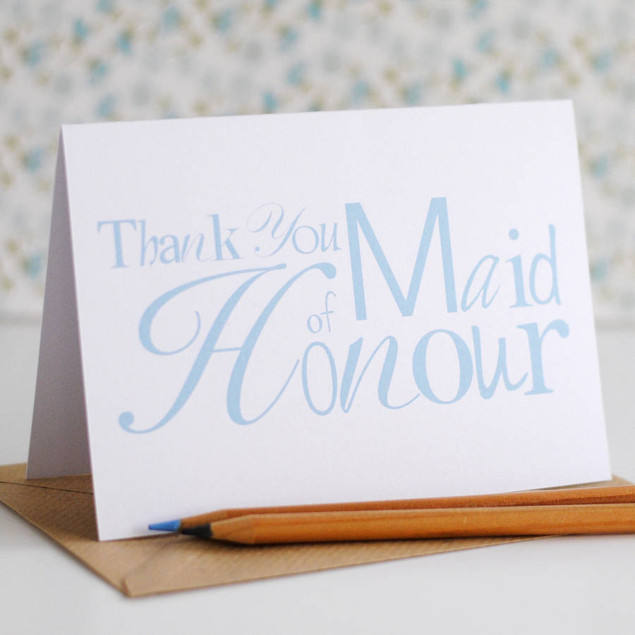 Thank You Maid of Honour Card - the green gables store
