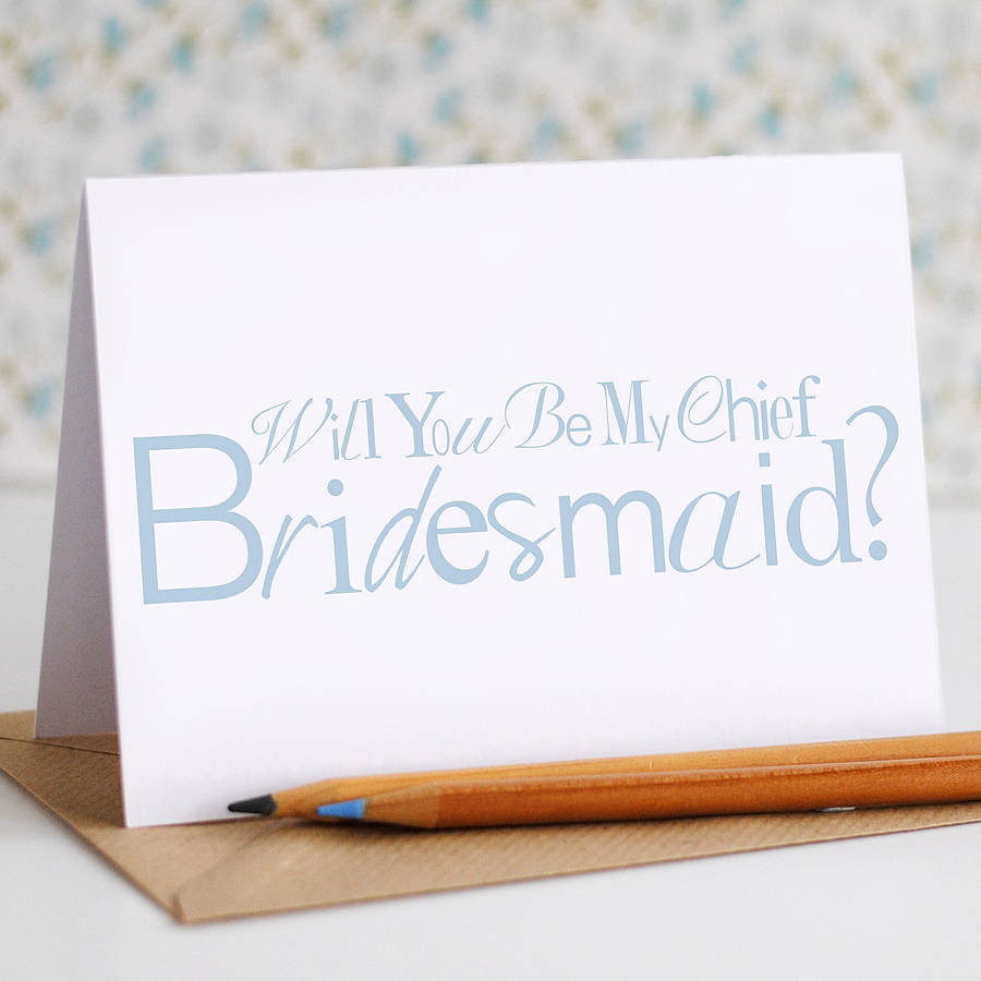 Will you be my Chief Bridesmaid Card - the green gables store
