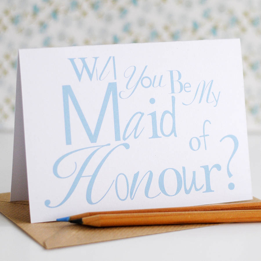 Will you be my Maid of Honour Card - the green gables store