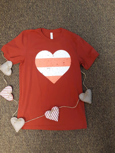 Red Stripe Heart Graphic Tee