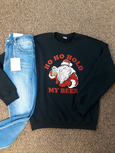 Hold My Beer Santa Graphic Crew Neck