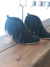 Load image into Gallery viewer, Black Fringe Bootie