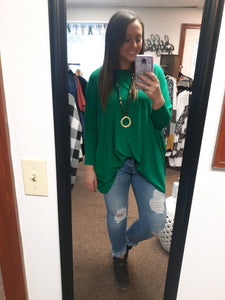 Kelly Green Dolman Sleeve Tunic Top