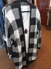 Load image into Gallery viewer, White Buffalo Plaid Duster Cardigan - Curvy