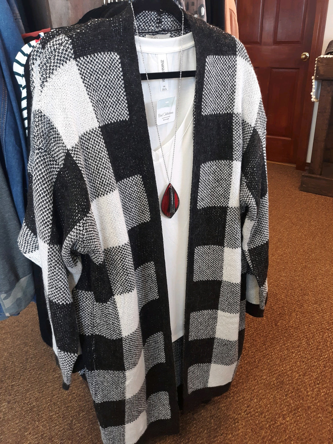 White Buffalo Plaid Duster Cardigan - Curvy