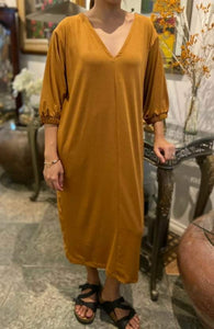 GARTERED SLEEVE MAXI DRESS (FOR PRE-ORDER)