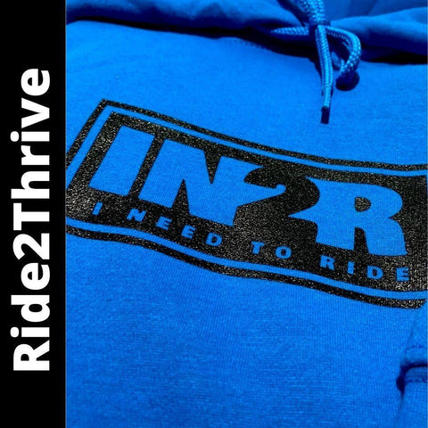 Ride2Thrive Men's Health Hoodies | Available in Sapphire Blue and Athletic Heather | IN2R Clothing and Apparel, Saskatoon, SK.