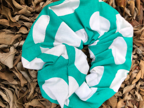 Scrunchies - Green with with large white circles
