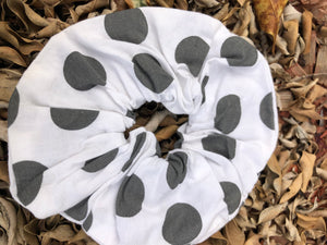 Scrunchies - White with Black dots