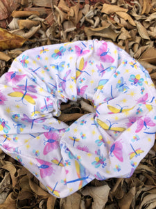 Scrunchies - White with coloured butterflies