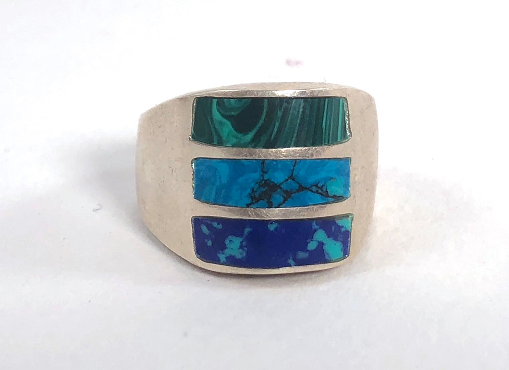 Pools Azurite, Turquoise and Malachite Vintage Ring