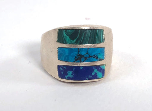 Hidden Pools Azurite, Turquoise and Malachite Vintage Ring