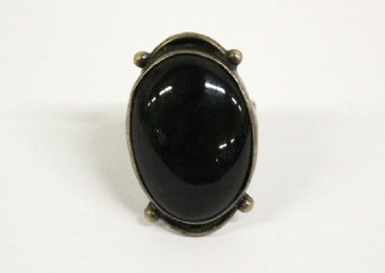 Femme-Witchy-Queer-Obsidian-Vintage-Ring-Garnet-Theory-Front