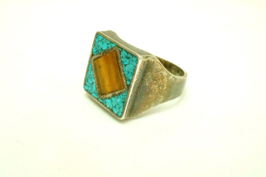 Gemini Vintage Turquoise and Tiger's Eye Ring