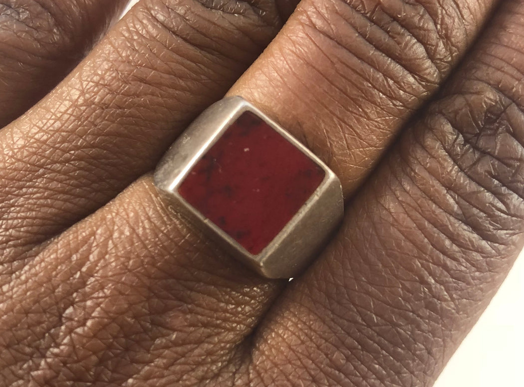 Mars Vintage Masculine Queer Woman Trans Man Ring - Garnet Theory- Front