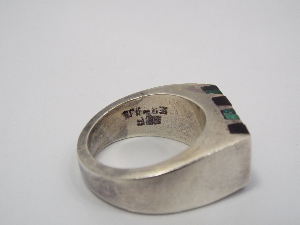 Queer Butch Masculine Lesbian Ring - Tidal Ring with Onyx and Malachite stripes - Back Angle